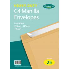 Diamond Value Heavy Duty Manilla Envelopes Peel & Seal 324x229mm C4