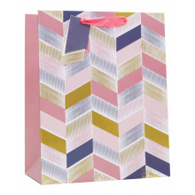 Gift Bag Pink Geometric Large