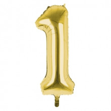 """34"""" Gold Number 1 Foil Balloon"""