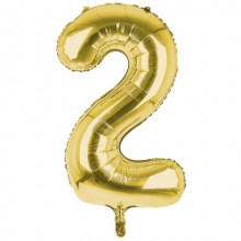 """34"""" Gold Number 2 Foil Balloon"""