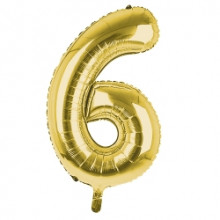 """34"""" Gold Number 6 Foil Balloon"""