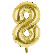 """34"""" Gold Number 8 Foil Balloon"""