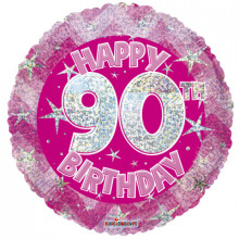 90th Pink Holographic Foil Balloon