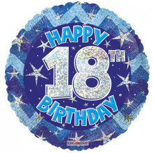 18th Blue Holographic Foil Balloon