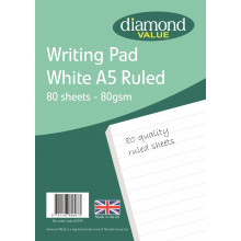 Diamond Value A5 Writing Pad Ruled 80's 80gsm