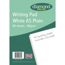 Diamond Value A5 Writing Pad Plain 80's 80gsm