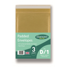 Diamond Value D Padded Bubble Envelopes 3pk