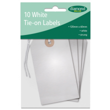 Diamond Value White Strung Tie On Labels 10's