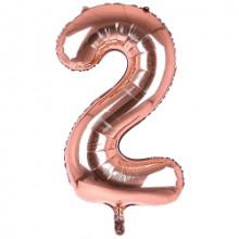 "34"" Rose Gold Number 2 Foil Balloon"
