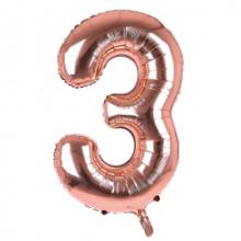 "34"" Rose Gold Number 3 Foil Balloon"