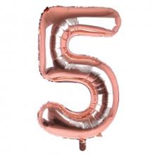 "34"" Rose Gold Number 5 Foil Balloon"