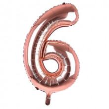 "34"" Rose Gold Number 6 Foil Balloon"