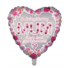 "18"" Remembrance Foil Balloon Mum Heart"