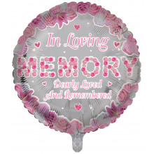"18"" In Loving Memory Foil Pink Round"
