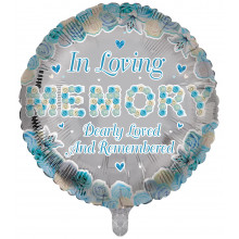 "18"" In Loving Memory Foil Blue Round"