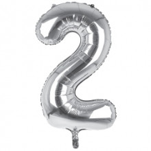 """34"""" Silver Number 2 Foil Balloon"""