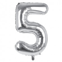 """34"""" Silver Number 5 Foil Balloon"""