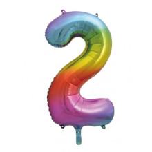 "34"" Rainbow Number 2 Foil Balloon"