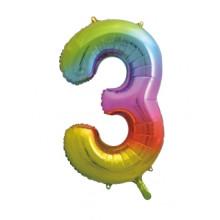 "34"" Rainbow Number 3 Foil Balloon"