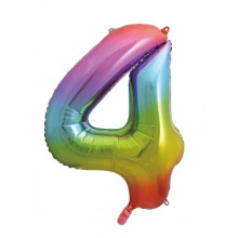 "34"" Rainbow Number 4 Foil Balloon"
