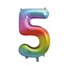 "34"" Rainbow Number 5 Foil Balloon"