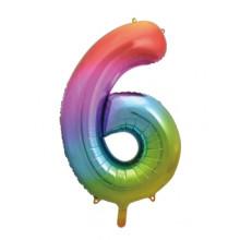 "34"" Rainbow Number 6 Foil Balloon"