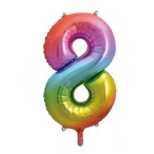 "34"" Rainbow Number 8 Foil Balloon"