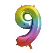 "34"" Rainbow Number 9 Foil Balloon"
