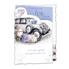 Cards WP19037 Code 75 Wife Anniversary 3 Fold