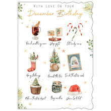 December B'day Male Trad 50 Christmas Cards